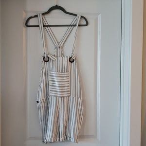▪︎Patrons of Peace▪︎ White & Striped Overalls